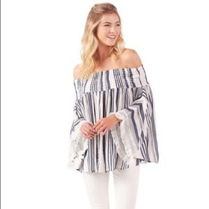 Boho Off the shoulder stripe in Navy / Chambray
